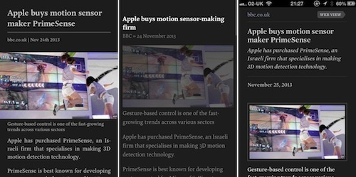 The same article in (left-to-right) Pocket, Instapaper, Readability on iPhone.