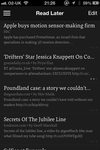 Instapaper on the iPhone - article list, using dark theme.