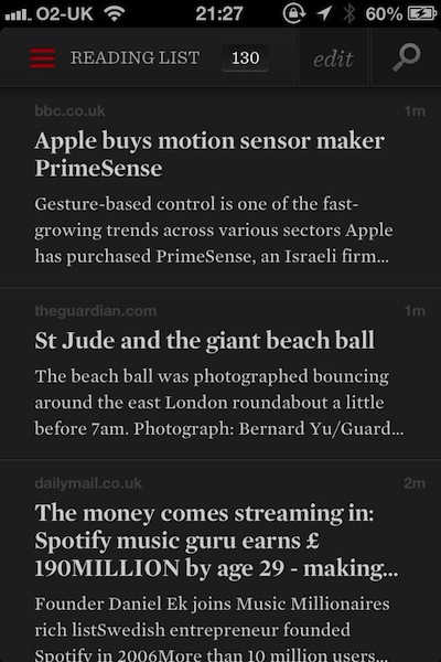 Readability article view - on iPhone